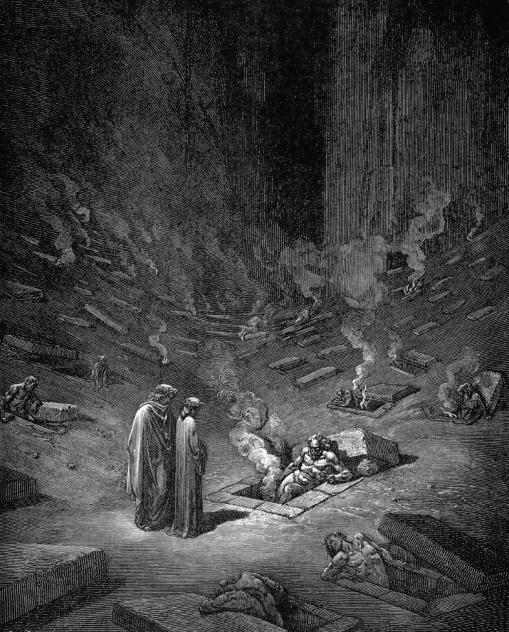 gustave_dore_dante_burning_graves_the_heresiarchs